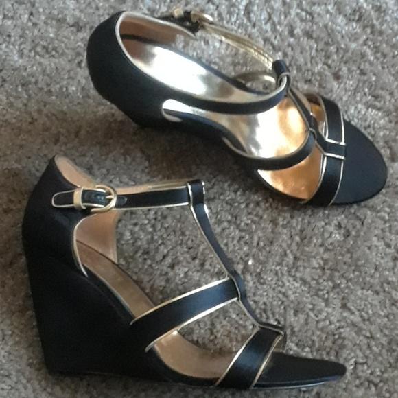 Coach Shoes   Satin Black Wedges   Poshmark